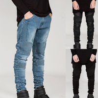 Mens Skinny Biker Jeans Destroyed Frayed Designed Slim Fit Denim Pants