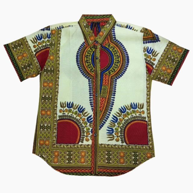 China supplier African wax fabric men shirt ,Blue dashiki wax fabric men shirt