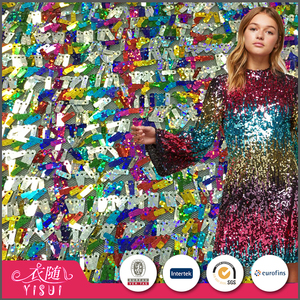Wholesale price fashion rainbow color mesh italian allover sequin fabrics textiles