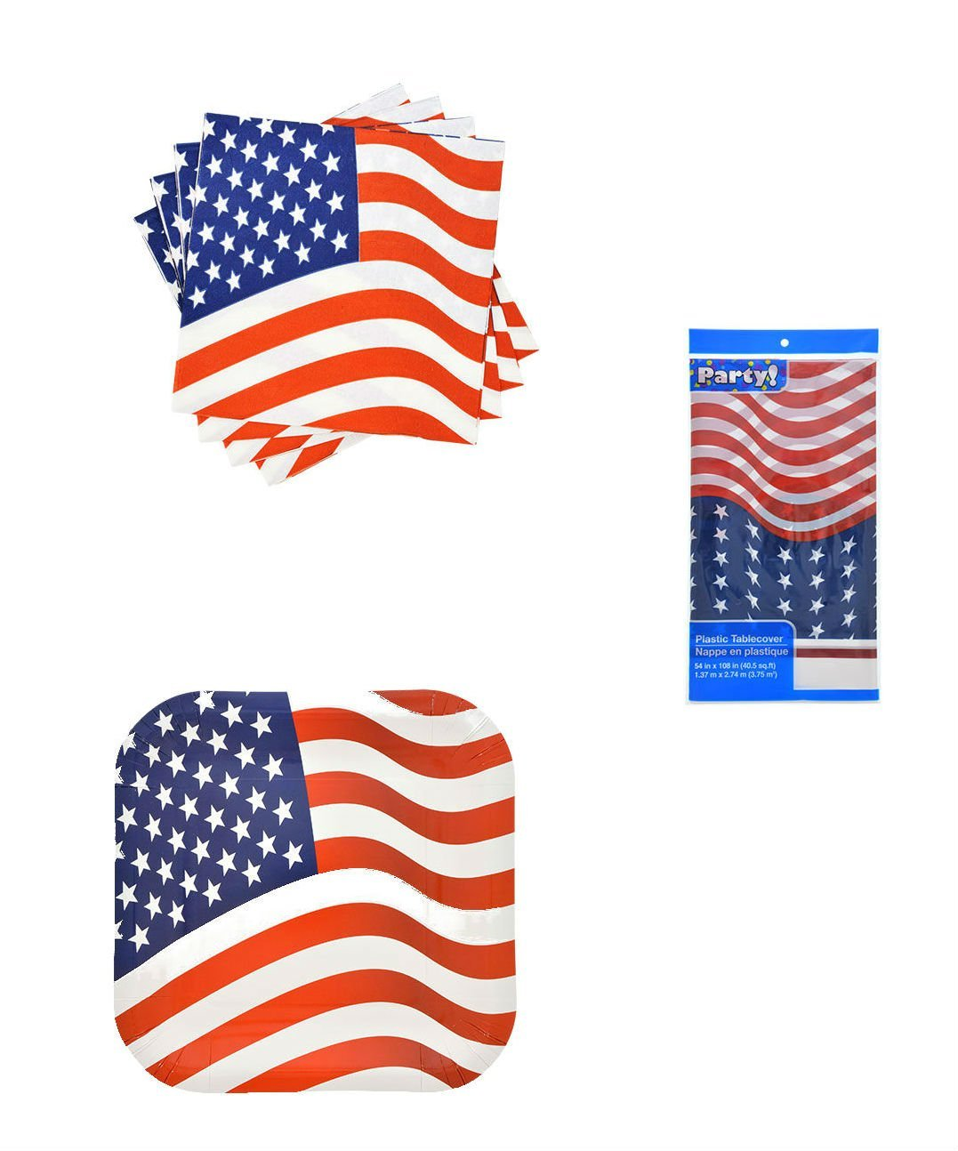 Patriotic American Flag Party Supplies Bundle Includes Paper Plates and Napkins for 8 Guests in a Freedoms Flag Design