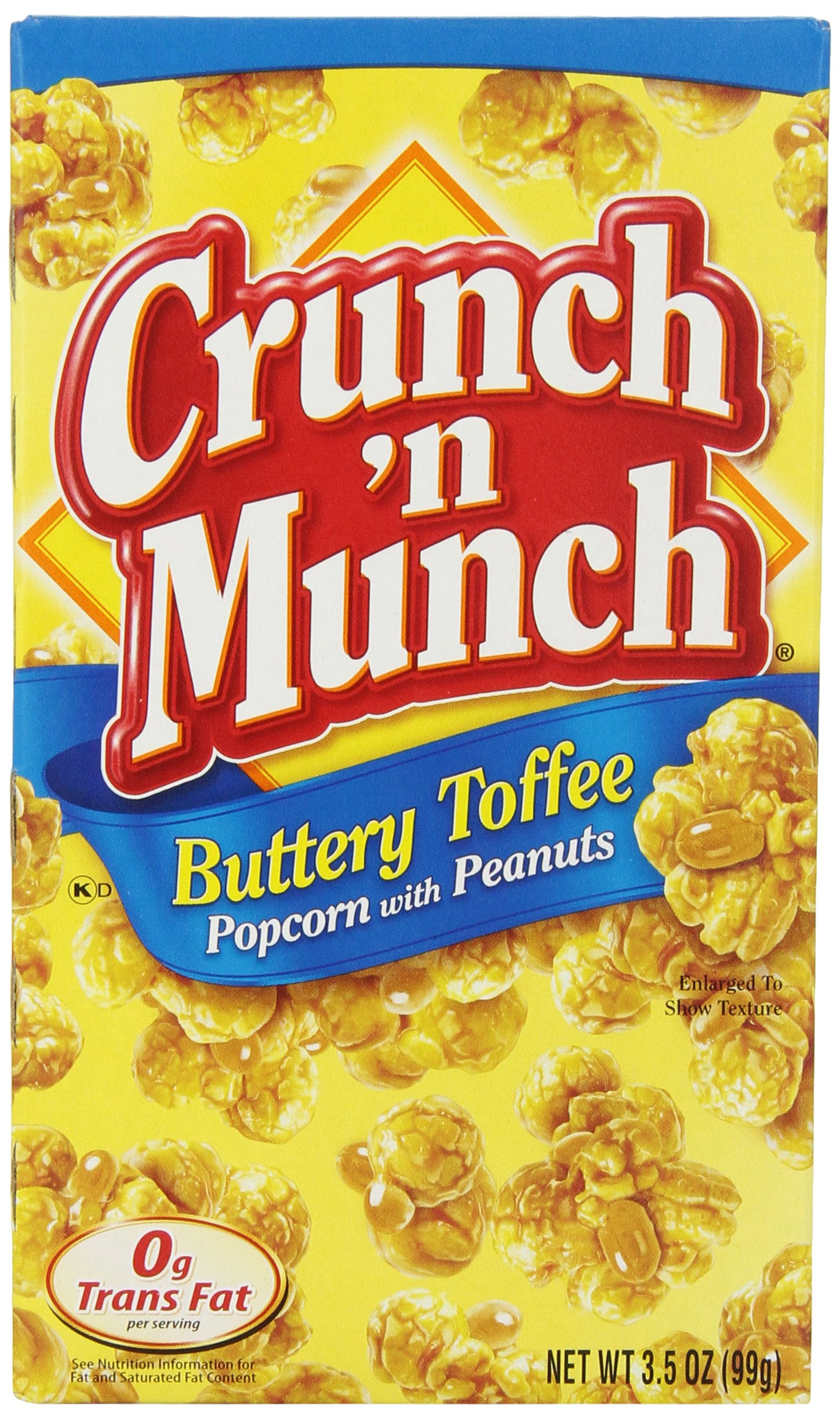 Crunch N Munch Buttery Toffee Popcorn with Peanuts, 3.5 Ounce (Pack of 12)
