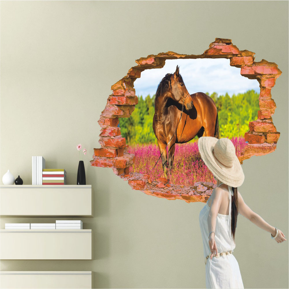 3d broken wall pattern wall stickers horse wall decals vinyl stickers home decor paper mural. Black Bedroom Furniture Sets. Home Design Ideas