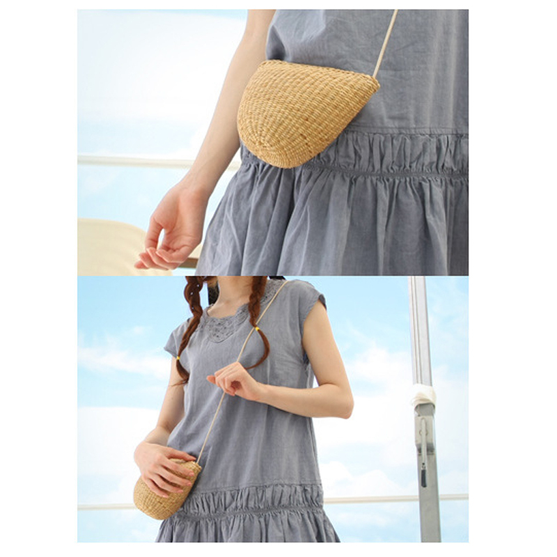 Top Hot Sale Women Handbags Bolsa Summer Beach Handmade Straw Weaving Mini Girl Shoulder Bags Women Handbag Handbags Bag