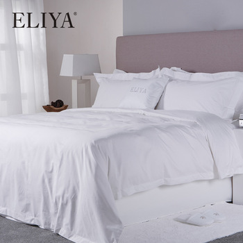 5 Star White 100% Egyptian Cotton Bed Cover Skirts Bedding Set Linen Bed Sheet For Hotel
