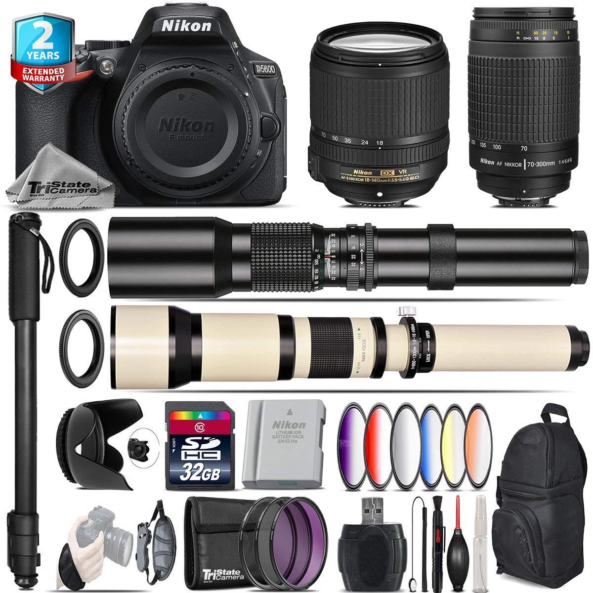 Holiday Saving Bundle for D5600 DSLR Camera + 18-140mm VR Lens + 650-1300mm Telephoto Lens + 70-300mm G Lens + 500mm Telephoto Lens + 6PC Graduated Color Filter - International Version