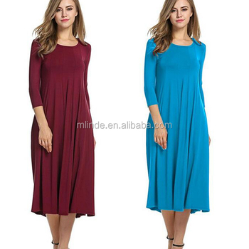 cae266f642 Women's Casual Loose Fit Swing Pleated T shirt Dress 3/4 Sleeve Solid  Pattern A