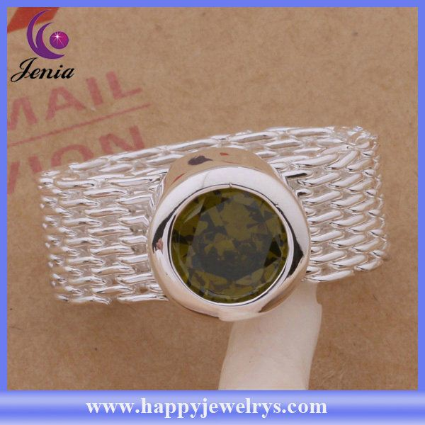Hot sellling fashion jewelry ring 925 silver plated green jade silver ring AR304