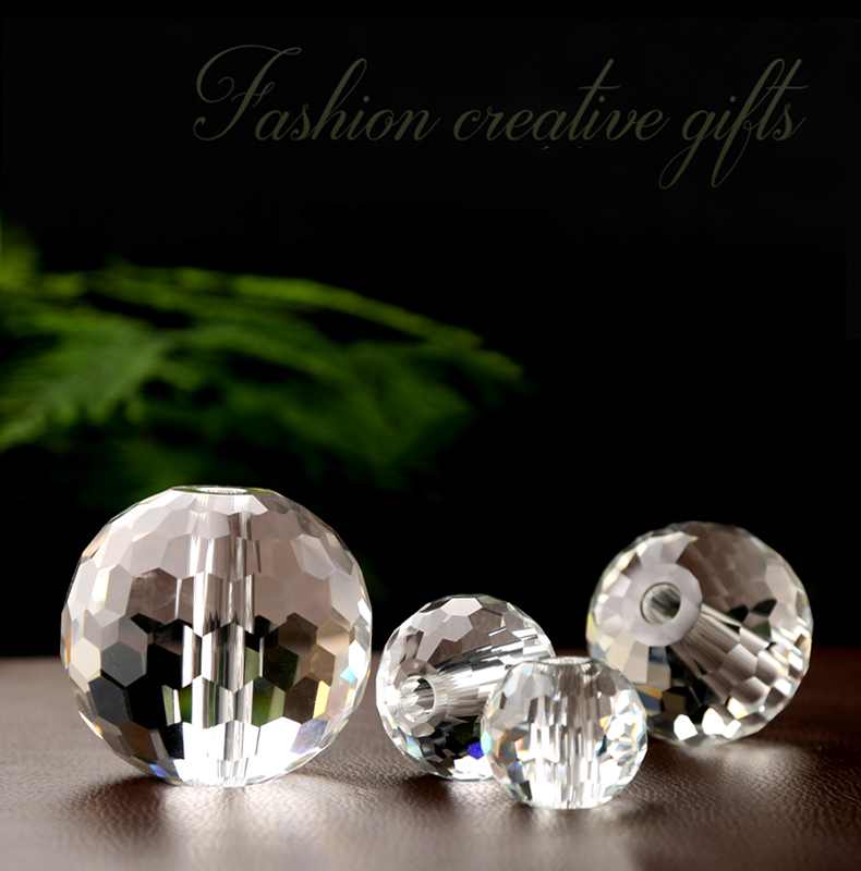China Supplier Wholesale High Quality diamond surface 20mm 40mm 60mm 80mm 100mm k9 Drilled faceted Crystal glass balls with hole