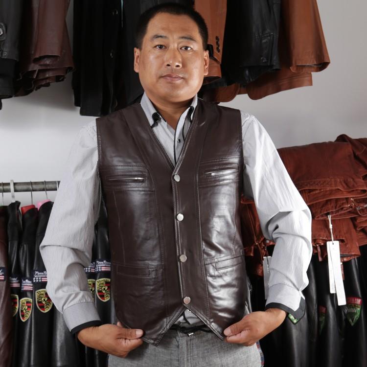 af163f8d40c8d 2019 Wholesale 2016 Casual Men S Cow Genuine Leather Vest Reporter ...
