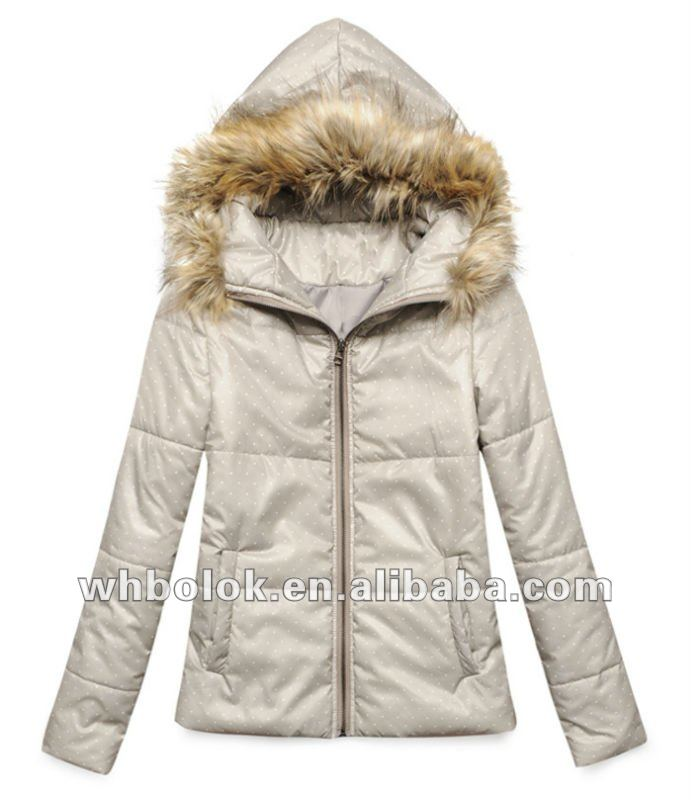 OEM Latest style ladies quilted winter windbreaker jacket with fur hood