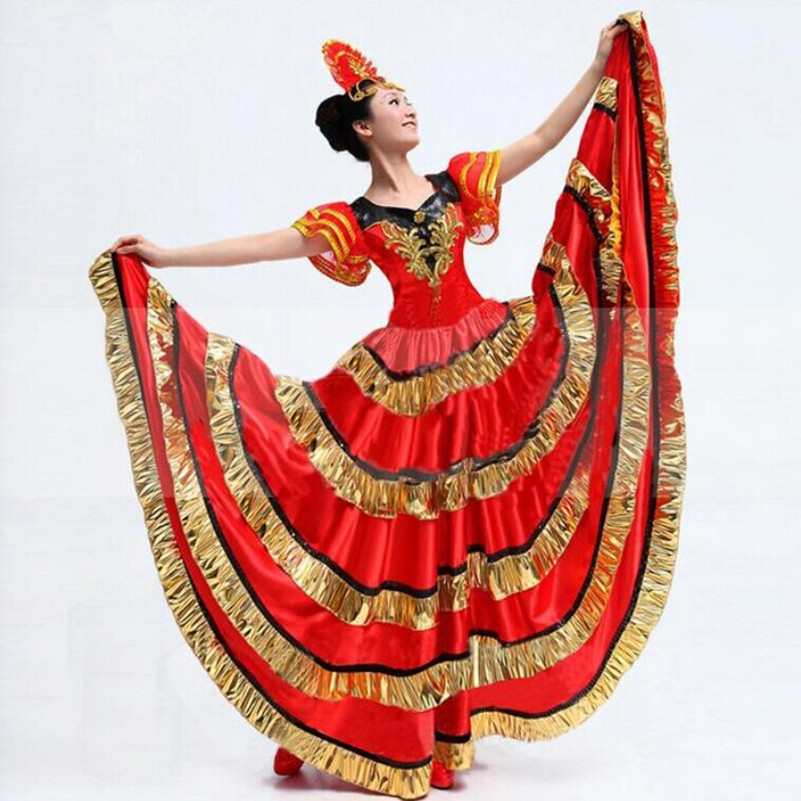 f5630c250c78 Get Quotations · 2015 Spanish Bullfighting Big Swing Dress Belly Dance  Dresses Opening Dance Performance Clothing Costumes dance Women
