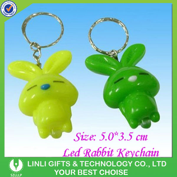 Supply plastic mini led rabbit key chain for promotion gift