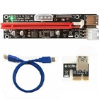 PCI-E PCI E Express 1X to 16X graphics Riser Extender Card SATA 15 Pin 6 Pin 4 PIN 3 Power Supply With LED light display