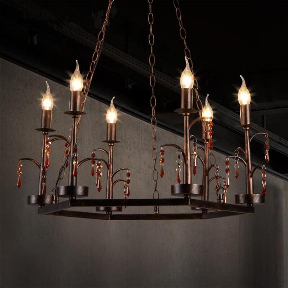 DHXY Retro Chandelier LOFT Industrial Vintage Rusty Color Wrought Iron Crystal Candle Pendant Ceiling Light 6 Lights For Kitchen, Bar, Cafe, Restaurant