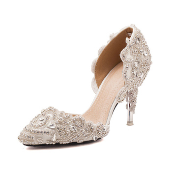 Lady High Heel Bridal Fancy Ivory Wedding Shoes Luxury Sandal
