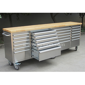 "96"" 24 Drawer Full Stainless Steel Mechanic Hand Tool Boxes for garage"