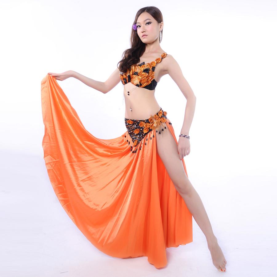 04e516fbc94b Get Quotations · Hot Women Belly Dance Clothing 3pcs Outfit Feather Costume  Rhinestone Bra C-cup Chiffon Long
