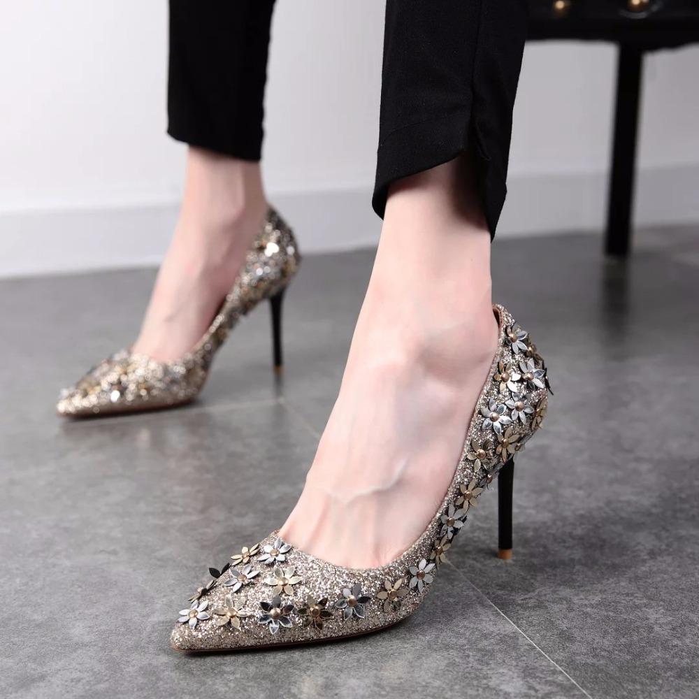d75aedd8a 2018 mais recente mulheres sapatos de grife de marcas famosas sexy senhoras  dedo apontado bombas de