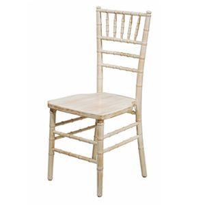 ZY24400 Stackable white wash wood chiavari chair with leather cushion
