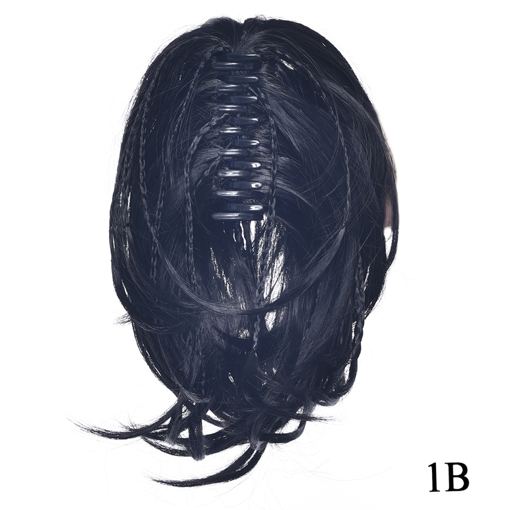 Black Curly Hairpiece Synthetic Hair Blonde Black Brown Short Clip In Hair Extensions Little Pony Tail Claw Ponytails
