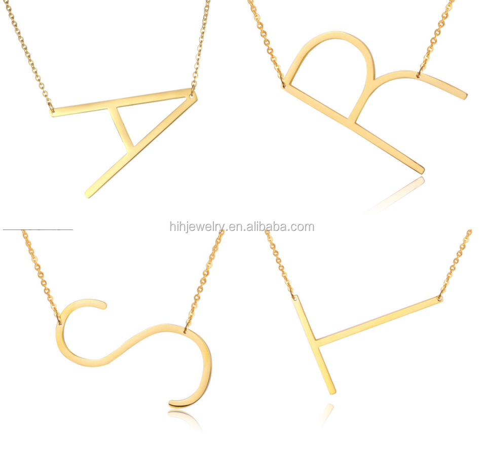 Latest <strong>fashion</strong> a model of the letter of the alphabet gold initial jewelry necklace 30% OFF