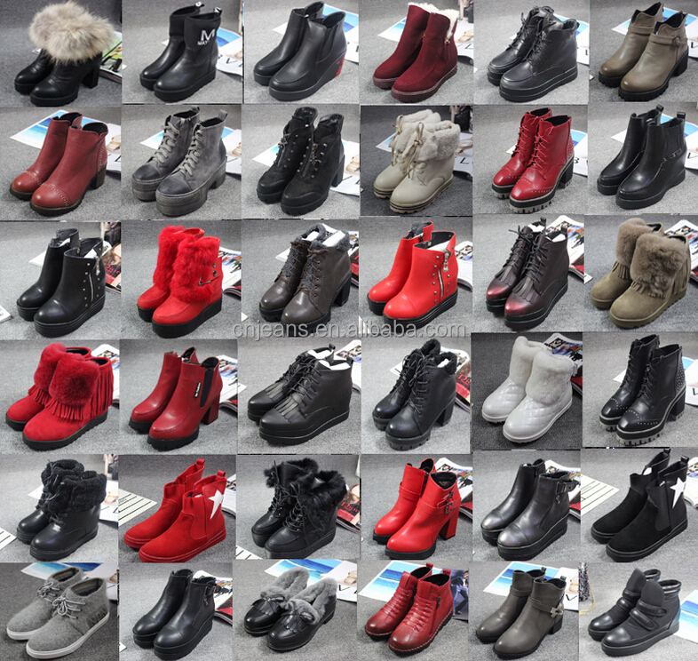GZY stocklots shoes female boots guangzhou factory 2017 stock high quality fashion mixed style 2017