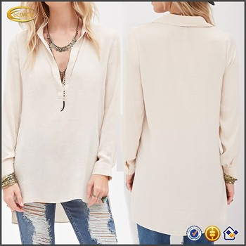 8ec465e4dfa92 OEM wholesale Collared Tunic crepe Blouse models V-neck long sleeve silk  blouse
