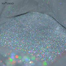 0.05 mm de prata do Laser Glitters Nail holográfica lantejoulas unhas Paillettes holograma faísca prego brilho Laser de brilho poeira 3 g