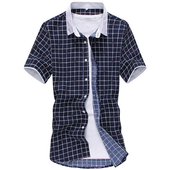Get Quotations · Plaid Shirts Men 2015 New Brand Slim Fit Short-Sleeve  Casual Male Dress Shirt Leisure a9cc26b02b7d