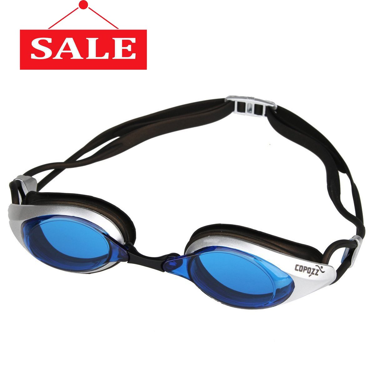 COPOZZ Competitive Swim Goggles, 3550 Shatterproof Swimming Reflective Mirror/Clear Anti Fog UV Protection Water Goggles, No Leaking Triathlon Racing Goggles for Unisex Adult Men and Women, Teenagers