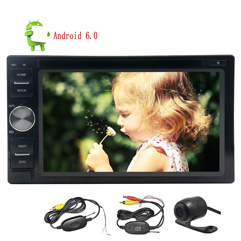 Wireless Camera!!Eincar Android Car Stereo 6.2inch Double din GPS Navigation Autoradio Quad-core 6.0 Marshmallow System CD DVD Video 1080P Player Bluetooth FM RDS Receiver Wifi Remote Control