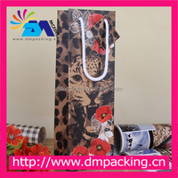 Classic Leopard Print Top Quality Red Wine Christmas Decoration Birthday Gift paper bag