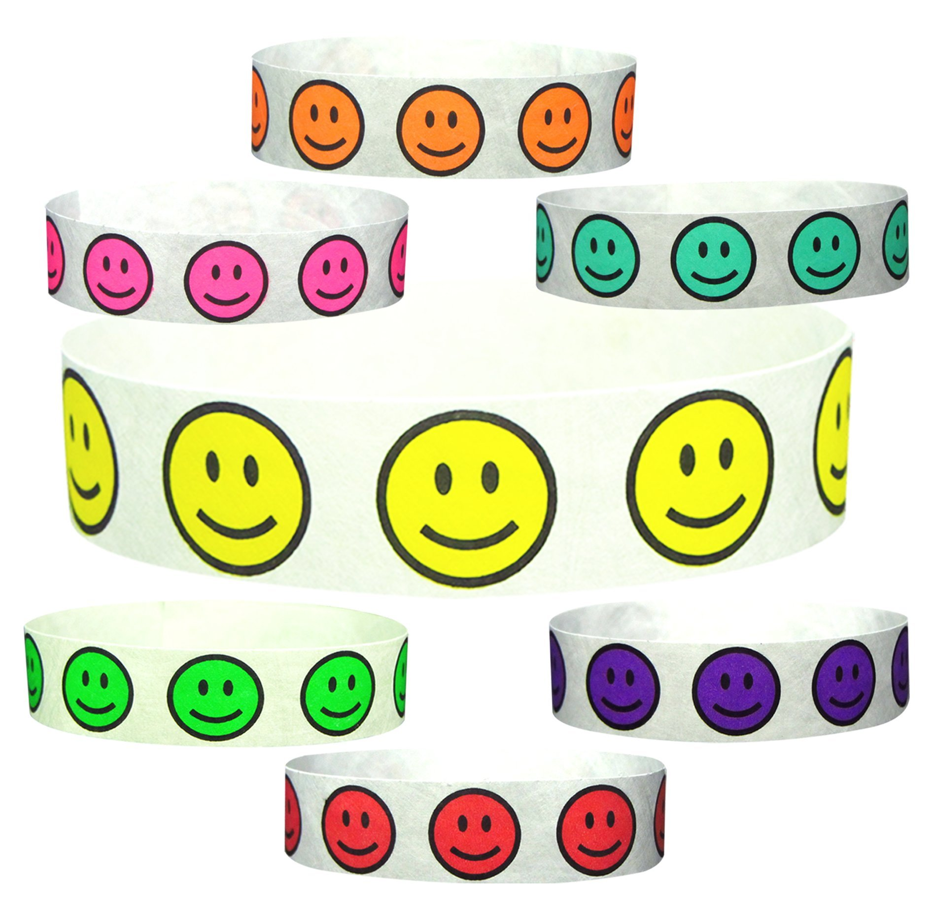 "Goldistock 3/4"" Tyvek Wristbands Happy Smiley Face- 350 Ct. Variety Pack- 50/Color- Neon: Yellow, Orange,Green, Pink, Aqua, Purple & Red"