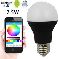 E27 dimmable lighting New design smart led 7.5w Bluetooth 4.0 led bulb lamp
