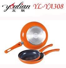 Aluminium non stick ceramic coated fry pan cookware set with honeycomb emboss shape bottom induction bottom cake pan