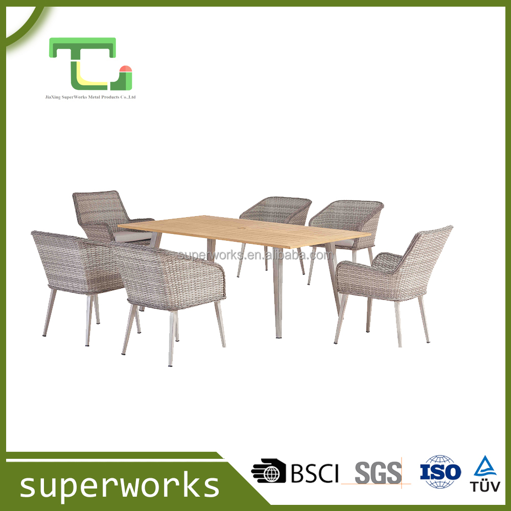 New Arrival High Quantity Hot Sale Outdoor Alum Rattan Dining Sets
