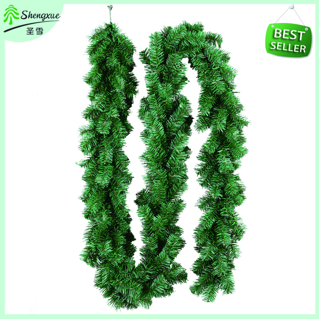 2016 new green color pvc garland christmas tree ornament