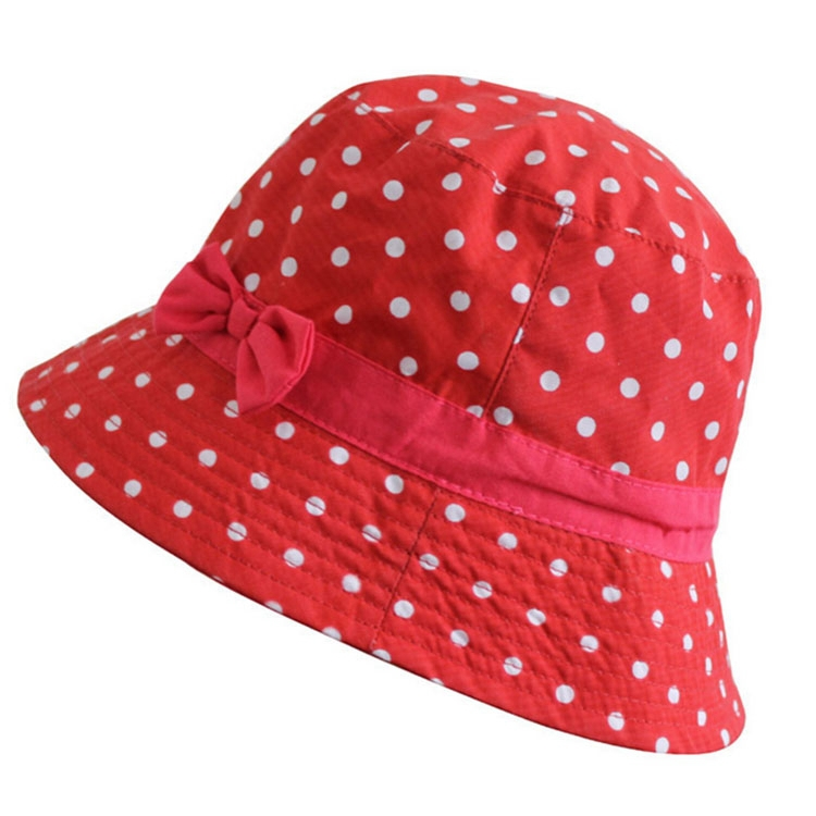 Get Quotations · Summer Style Bow Dot Bucket Hats For Children Outdoor Sun Bucket  Hat Kids  25f26ab466ae