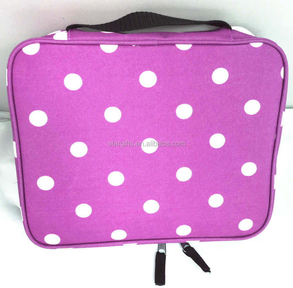Wholesale White Polka Dots Printed Large Nylon Essential Cosmetic Case With Double Zipper