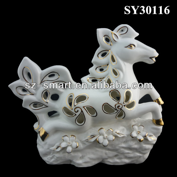 Hollow out white horse animal pottery garden decoration