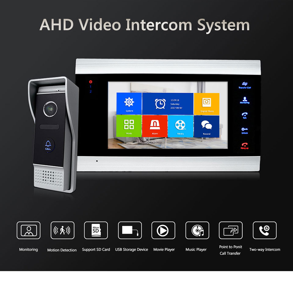 Bcomtech Hot Sales 4 Wire 7inch Villa Single House AHD Video Door Phone Intercom System