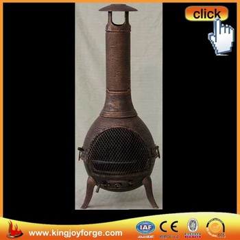 Exceptional Wood Burning Antique Outdoor Cap Chiminea Cast Iron, 50 Inch, Copper