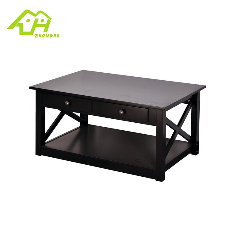 長方形ブラック木製ティーテーブルデザイン MDF 中国茶現代コーヒーテーブル