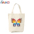 Beige color women's shopping cotton tote canvas bag fashion