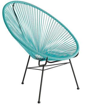 Beau Outdoor Plastic String Chair, Rattan Family Fun Acapulco Chair