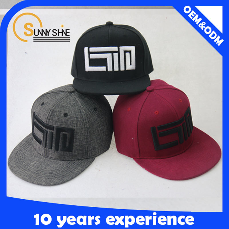 China Sunny shine 100% Cotton <strong>Custom</strong> High Quality 6 Panel Snapback Embroidery Wholesale 100% Cotton caps