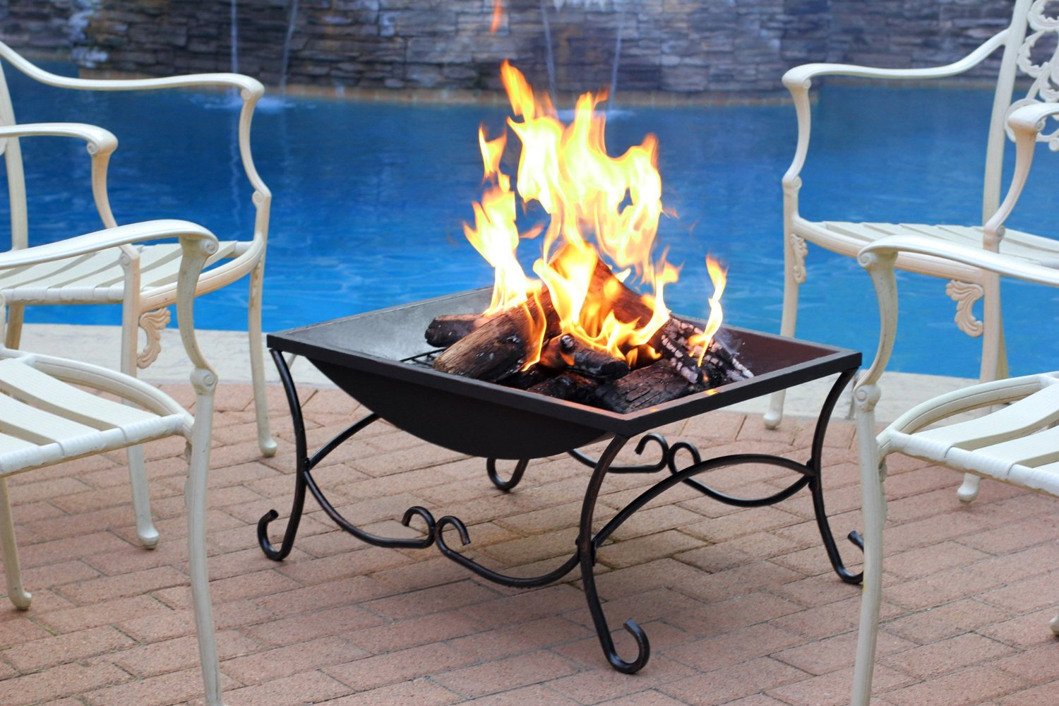 """Classic Black Fire Pit Outdoor Fire Pit, Multicolored, 27"""""""