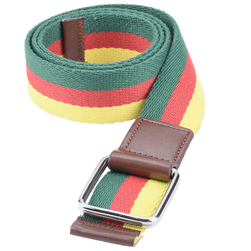 2015 New Design Children Alloy Double Ring Colorful Striped Wide Elastic Canvas Belt For Kids Boys Girls