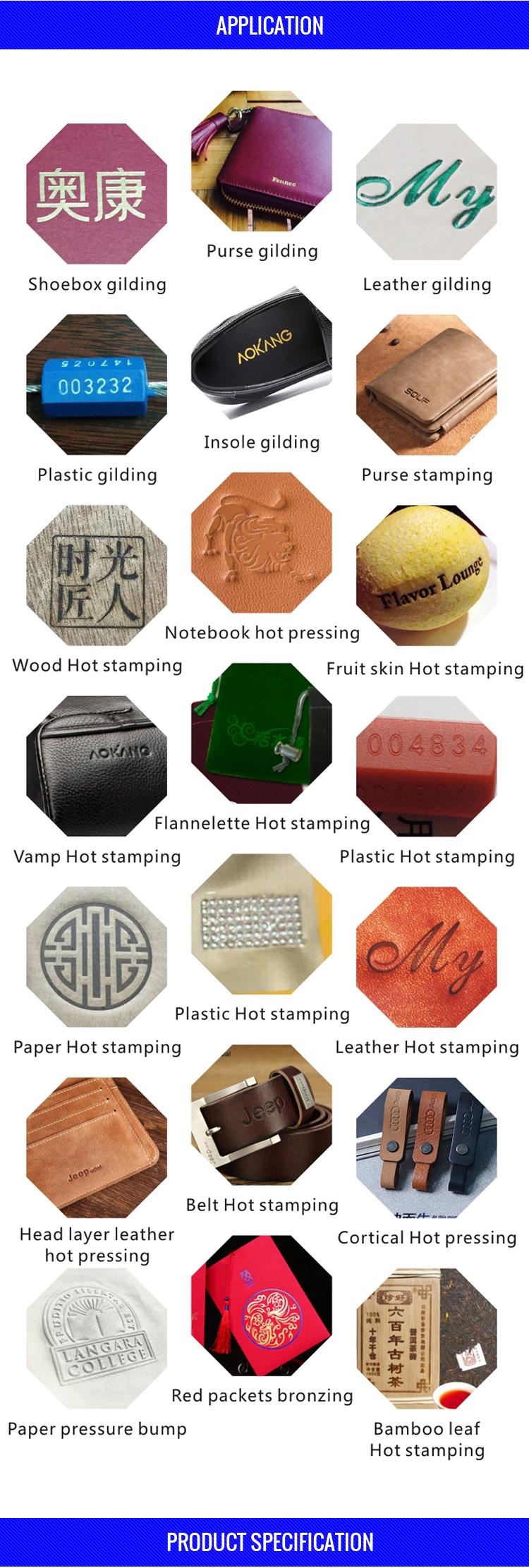 JinXinYang leather heat press manual hot foil stamping embossing machine logo printing gold