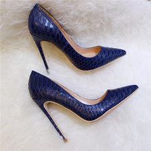 Veowalk Sexy Women Snake Skin Embossed High Heel Shoes Italian Style Navy  Blue Fashion Ladies Extremely d0c03ccfd2f9
